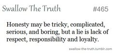 A lie is a lack of respect, responsibility and loyalty
