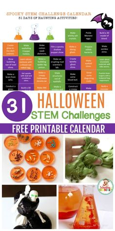 These Halloween science experiments and Halloween STEM activities are the perfect way to learn with the printable Halloween STEM challenge calendar! Kindergarten Science Experiments, Math Activities For Kids, Halloween Activities For Kids, Stem Science, Science For Kids, Preschool Science, Nifty Science, Kindergarten Inquiry, Kindergarten Centers