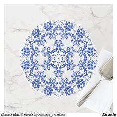 Classic Blue Flourish Cake Stand Party Napkins, Kitchen Dishes, Special Birthday, Fancy Cakes, Party Accessories, Cake Plates, Artwork Design, Custom Cakes, Let Them Eat Cake