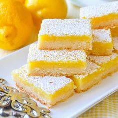 Super Easy Lemon Bars. With only 5 simple ingredients and an incredibly easy recipe you can bake these luscious lemon bars that all who try, just rave about!