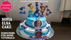how to make princess sofia the first elsa frozen theme birthday cake design ideas decorating Easy Kids Birthday Cakes, Olaf Birthday Cake, Friends Birthday Cake, Animal Birthday Cakes, Frozen Birthday Theme, Homemade Birthday Cakes, Frozen Theme, Birthday Cake Girls, Happy Birthday Cakes