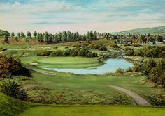 A print of the 16th hole at Tain Golf Course in the Scottish Highlands. Artist is Derek Wood