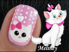 Marie the Cat Nail Art Tutorial from the Disney Movie The Aristocats Cute Animal Nail Design
