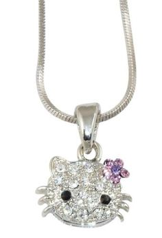 """Small Adorable 1/2"""" Crystal Hello Kitty Pendant and Necklace - Light Purple Flower Bow - Silver Plated Necklaces by Glamour Girl Gifts. $15.99. Snake chain is 16"""" with a lobster clasp. Comes packaged ready for gift-giving. Pendant measures approx 1/2"""" from whisker to whisker. Silver plated - Lead and nickel free. Pendant is adorned with 11 clear crystals, 5 light purple and 1 AB crystals for the bow and 2 black crystals for the eyes. Save 47% Off!"""