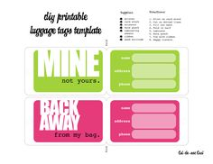 Luggage Tag Template, Luggage Labels, Free Printable Gift Tags, Free Printables, Cute Luggage, Travel Luggage, Tag Templates, Name Tags, Cruise