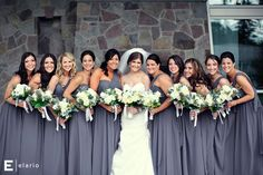 the bridesmaids are in our very own Aidan dress in charcoal