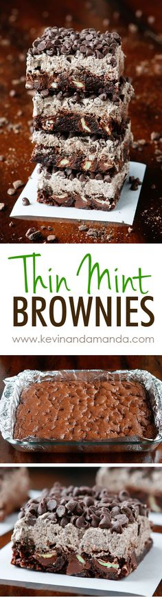Thin Mint Brownies made with Thin Mint Cookies! These are SO good! Super fudgy brownies with Thin Mint Buttercream Frosting. You can make these even if you don't have Thin Mints on hand.