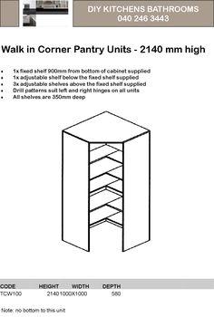 Corner wrap around larder cupboard larder cupboards for Wickes kitchen cabinet sizes