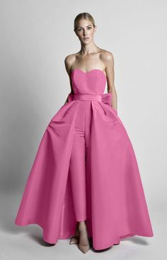 Silk Faille Bow Detailing in Back waist level Semi-sweetheart strapless neckline Cigarette style trousers Concealed back zipper Detachable skirt Partially lined Shell: Sil… Long Party Gowns, Formal Gowns, Strapless Dress Formal, Detachable Wedding Dress, Wedding Pantsuit, Fancy Wedding Dresses, Evening Dresses, Prom Dresses, Cozy Fashion