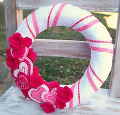 SALE Felt Wreath  Valentines Wreath  baby girl by CuriousBloom, $25.00