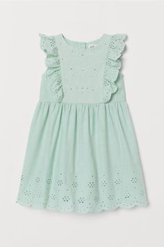 Sleeveless dress in a cotton weave with an embroidered bodice and broderie anglaise at the top and hem. Buttons at the back, a gathered seam at the waist an Light Turquoise, Embroidery Dress, Kids Fashion, Fashion Design, Women's Fashion, Fashion Company, Flare Skirt, Special Occasion Dresses, Baby Dress