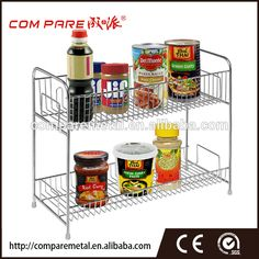 Stainless Steel 2 Tier Spice Jars / Condiment Bottles / Canned Food Shelves Pantry Storage Rack Stand Kitchen Storage Racks Shelves, Pantry Storage, Rack Shelf, Food Storage, Glass Spice Jars, Spice Bottles, Spice Rack Organiser, Spice Organization, Ketchup