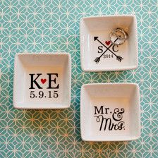 Monogram square ring dish customizable initialed jewelry holder personalized bridesmaid bachelorette bride-to-be gift gold silver letter