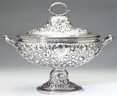 Dominick & Haff Sterling Silver Soup Tureen circa 1875 two-handled oval form raised on a tall pedestal foot, the domed cover with loop handle, allover Baltimore style floral repousse, numbered bright-cut engraved script monogram to central cartouche. Silver Trays, Silver Spoons, Silver Enamel, Vintage Silver, Antique Silver, Silver Tea Set, Sterling Silver Flatware, Metal, Soup Bowls