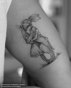 """""""It's no use going back to yesterday, because I was a different person then.""""  Alice and the White Rabbit by Chris Riddell, from the book '100 Hugs'. Inner Arm Tattoos, Arm Tattoos For Women, Tattoos For Guys, Hamsa Tattoo, I Tattoo, Sanskrit Tattoo, Little Tattoos, Love Tattoos, Recovery Tattoo"""
