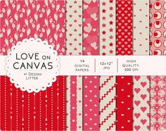 """Love digital paper: hearts on canvas background in pink red and gray vintage and retro scrapbook paper for Valentine's  instant download by DesignLitter  4.00 USD  Love digital papers  """"Love on canvas"""" This love collection includes cute hearts stars and arrows on canvas backgrounds romantic retro and vintage backgrounds valentine's papers in pink crimson red and warm gray. These love sheets are suitable for every creative project as DIY wedding invitations Valentine's Day love card party DIY…"""
