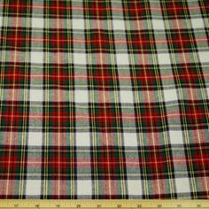 Red And White Tartan Flannel Winceyette Cotton Fabric