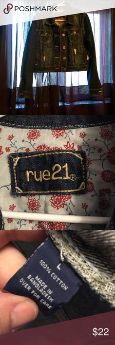 Rue 21 Denim Distressed Jean Jacket Trendy and cute Rue 21 Distressed Jean Jacket with copper colored hardware. Size large and offers are welcome but don't wait for the price to drop on this jacket. It might be gone by then. Rue 21 Jackets & Coats Jean Jackets