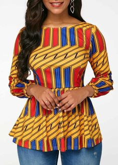 Tops For Women Boat Neck Three Quarter Sleeve Blouse Latest African Fashion Dresses, African Print Dresses, African Print Fashion, African Dress, African Blouses, African Tops, African Attire, African Wear, Trendy Tops For Women
