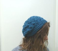Hand knitted BLUE SLOUCHY BEANIE Hat by MARYsworks on Etsy, $35.00