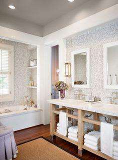 Dillon Kyle Architecture: Gorgeous gray master bathroom with gray mosaic tiles backsplash, light maple wood . Mosaic Tiles Backsplash, Grey Mosaic Tiles, Glass Tiles, Wall Tile, Mosaics, Grey Bathrooms, Beautiful Bathrooms, Master Bathroom, Bathroom Gray