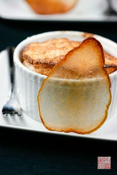 Taillevent Pear Souffles with Pear Wafers