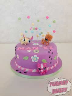 Littlest Pet Shop birthday cake stars flowers purple pink bright (bright cakes birthday)