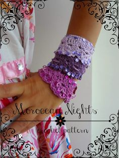 Moroccan Nights #crochet cuff pattern for sale from Little Treasures