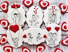 Fancy Cookies, Heart Cookies, Iced Cookies, Sugar Cookies, Valentines Day Cakes, Valentine Cookies, Valentines Diy, Fondant Cookies, Cupcake Cookies