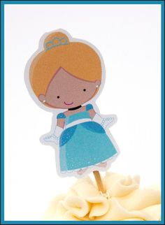 Princess Party - Set of 12 Cinderella Cupcake Toppers by The Birthday House. $6.00, via Etsy.