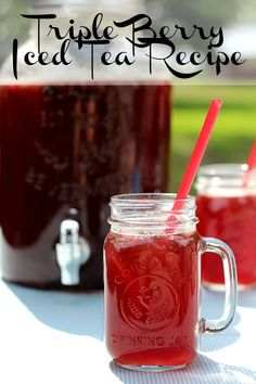 Triple Berry Iced Tea Recipe How to make flavored iced tea.  Make this sweetened or unsweetened.  This summer drink recipe is so refreshing. #icedtea