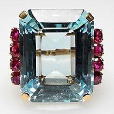 18k Emerald Aquamarine & rubies...