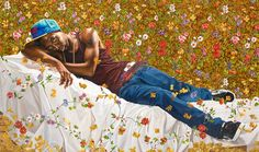 Amazingly surprising: Kehinde Wiley paints heroic figures, depicted in front of colorful background patterns.