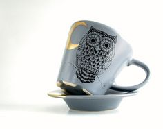 owl golden moon grey tea/coffee cup and saucer , hand painted goth owl Coffee Cups And Saucers, Cup And Saucer, Tea Cups, Grey Tea, Gray Owl, Your Favorite, Buy And Sell, Hand Painted, Tableware