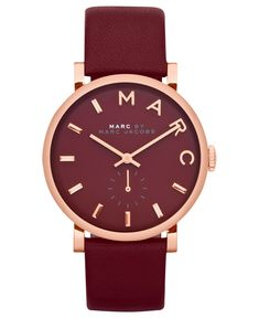 GORGEOUS // Marc by Marc Jacobs Watch, Women's Baker Deep Maroon Leather Strap