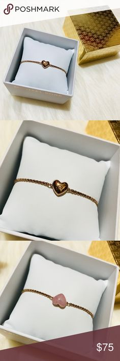 Michael Kors RoseGold Carved Heart Slider Bracelet NIB and NWT! Amazing Rose Gold heat that could be worn in two different ways! Both sides shown. The back is adjustable and has cute crystal details. Here are online details: Accessorizing doesn't get sweeter than this high-shine blush slider bracelet, punctuated with a reversible stone-studded heart at its center and back closure. Flip the front heart for a purely pink way to wear the charm, making for double the feminine chic. No trades…
