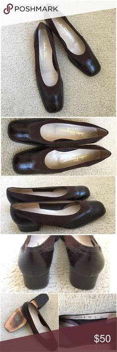Salvatore Ferragamo Square Toe Brown Shoes GUC See pictures to see wear. Narrow fit. Pinch out photo to zoom. Know your brand sizing before you buy. Ask Qs before buying, all sales FINAL. I try to describe the items I sell as accurately as I can but if you feel I missed something,LMK FIRST so we can resolve it before you leave a less than 5🌟 rating.  🚫OFFLINE TRANSACTIONS/TRADES 🚫LOWBALLING ✅Please consider the 20% PM fee Salvatore Ferragamo Shoes