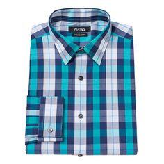 Men's Apt. 9® Extra-Slim Fit Gingham-Checked Stretch Dress Shirt, Size: 15.5-32/33, Blue