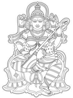 Kerala Mural coloring page from Hinduism category. Select from 31983 printable crafts of cartoons, nature, animals, Bible and many more. Saree Painting, Kerala Mural Painting, Indian Art Paintings, Madhubani Painting, Fabric Painting, Mysore Painting, Krishna Painting, Outline Drawings, Pencil Art Drawings