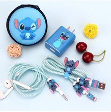 Online Shop Cartoon USB Cable Earphone Protector Set With Box Cable Winder Stickers Spiral Cord Protector For Huawei Disney Phone Cases, Cute Phone Cases, Disney Stitch, Usb, Lilo And Stitch Quotes, Cord Protector, Cute Disney Outfits, Cute Stitch, Accessoires Iphone
