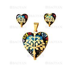 juego dije y aretes de corazon briilo especial con arbol dorado en acero…