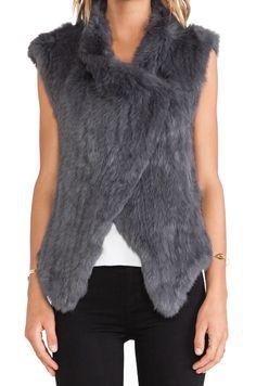 NICHOLAS NICHOLAS Knitted Rabbit Fur Vest in Charcoal
