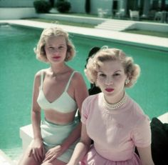 C. Z. Guest & Joanne Connelly, Palm Beach Florida 1955    Lucy Douglas Cochrane (February 19, 1920 - November 8, 2003), known as C. Z. Guest, was an American stage actress, author, columnist, horsewoman, fashion designer, and socialite who achieved a degree of fame as a fashion icon.    Photo by Slim Aarons/Hulton Archive/Getty Images