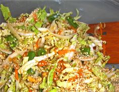 Texas Panhandle Cabbage Salad Recipe - Add or sub bok choi, omit ramen noodles, toast the almonds and sesame seeds, reduce sugar in the sauce, use olive oil instead of vegetable oil. Raw Food Recipes, Asian Recipes, Vegetarian Recipes, Cooking Recipes, Healthy Recipes, Ethnic Recipes, Seafood Recipes, Napa Salad, Napa Cabbage Salad