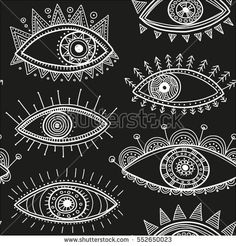 Vector seamless pattern with boho style eyes ornaments. Can be printed and used as wrapping paper, wallpaper, textile, fabric, etc.