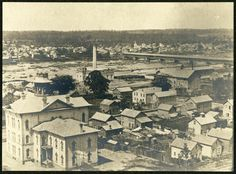 View of N. Ionia St. School and Grand River from Reservoir Hill (Belknap Park) c. 1874