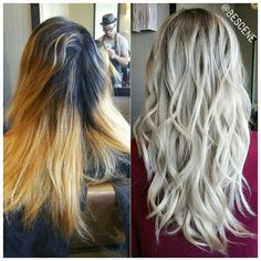 *BEFORE & AFTER*  From an over grown attempted ombre to a beautiful rooty blonde! This process took me about 5-6 hours.  These types of appointments can't be rushed. I bumped the base to a level 6 intense ash brown and toned her blonde with @Schwarzkopfusa  Igora 10-1, E-1, 0-22 10vol. Styled by my assistant @elizabethashleyy #BESCENE
