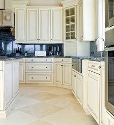 Cozy Travertine Tile Kitchen