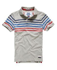 Mens - Bay Stripe Polo Shirt in Grey Marl Mix | Superdry
