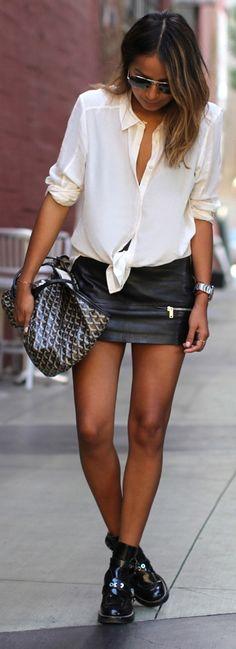 PAIGE DENIM 'Tara' shirt // ZARA leather mini skirt